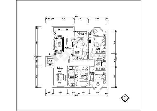 四室贺卡室内装修立体cad纸雕v贺卡图纸母亲节平面全套住宅图纸图片