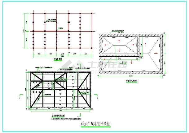 图纸包括天沟及檐口剖面图,卧梁模板配筋图,屋面卧梁图,屋面钢结构