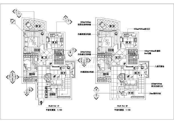 墅住宅装修方案设计cad施工图天花吊顶设计图