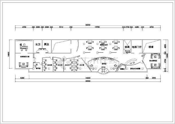 公司办公室室内设计cad平面装修施工图图片1