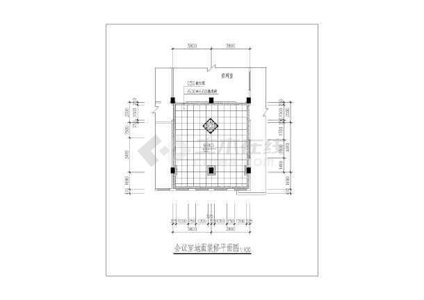 四楼会议室室内装修cad平面图地面铺砖图