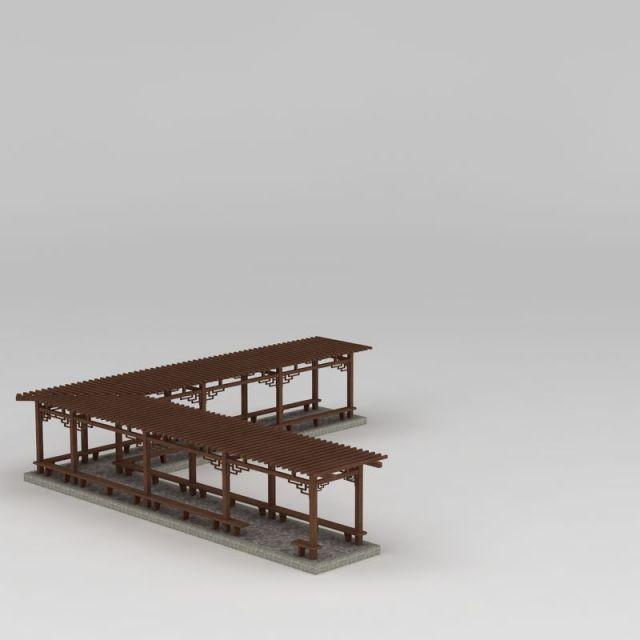 简易L型廊架3D模型下载-图3