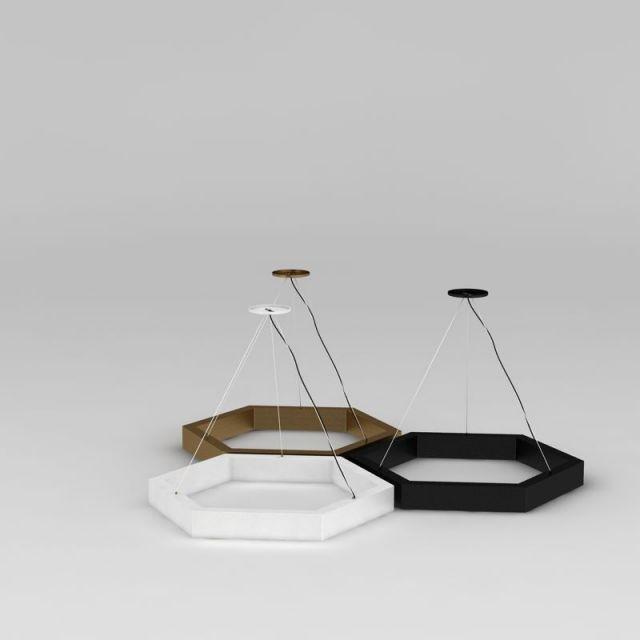 创意六角形吊灯3D模型下载-图3