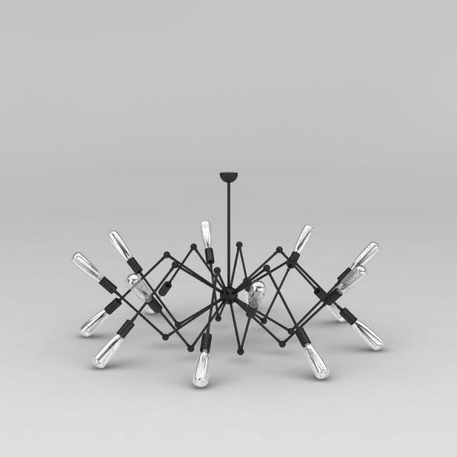 工业风loft吊灯3D模型下载-图1