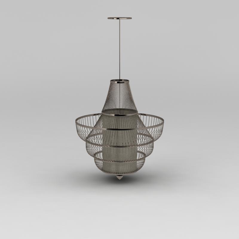 大厅豪华金属吊灯3D模型下载-图3