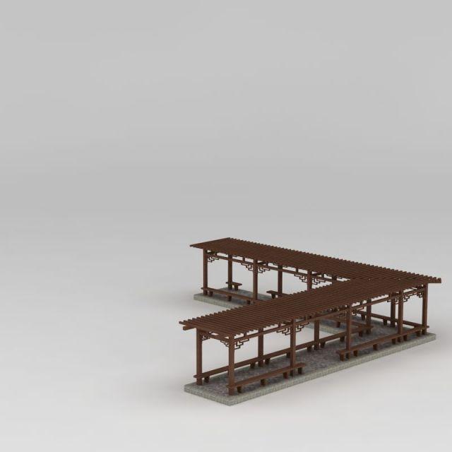简易L型廊架3D模型下载-图2