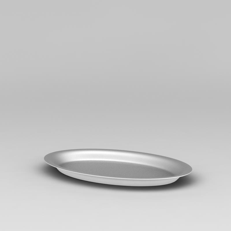 银色金属盘子3D模型下载-图1
