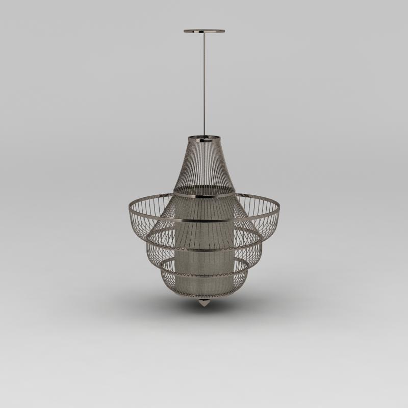 大厅豪华金属吊灯3D模型下载-图2