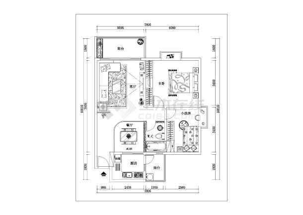 住宅室內多功能書房及書柜室內裝修cad施工圖圖片