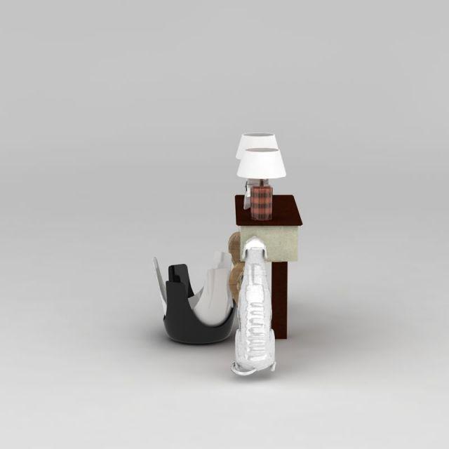 欧式玄关台3D模型下载-图2