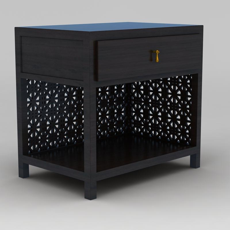 实木镂空雕花柜子3D模型下载-图1