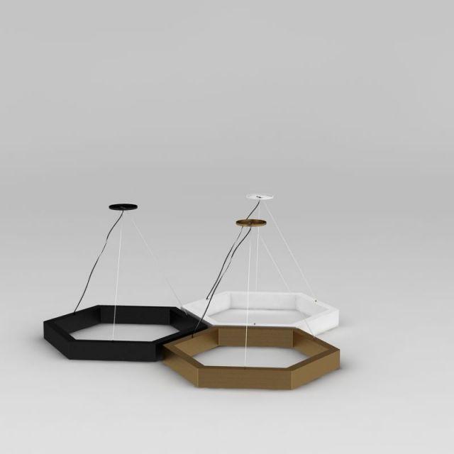 创意六角形吊灯3D模型下载-图1