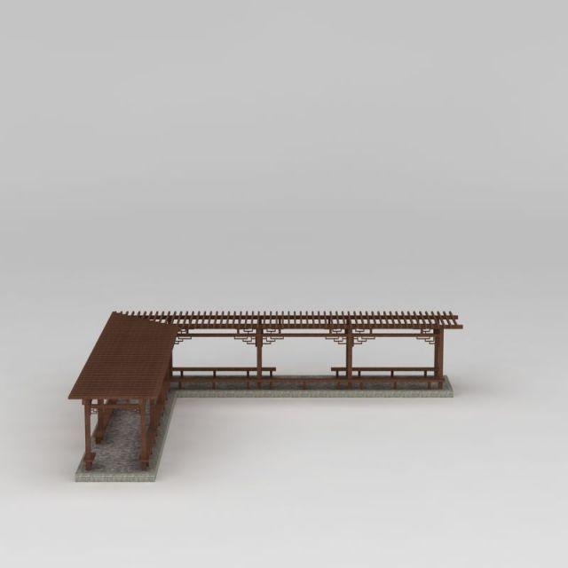 简易L型廊架3D模型下载-图1