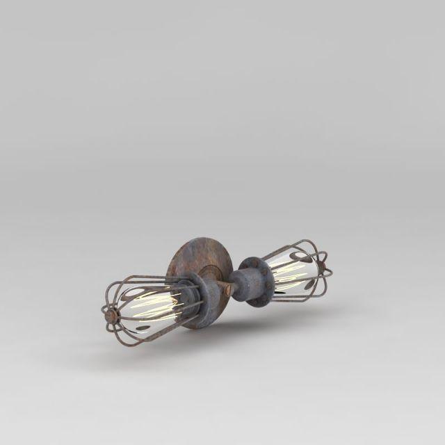 工业风壁灯3D模型下载-图1
