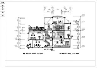 三层带露台花园别墅设计装修cad平立剖面施工2010cad删除怎么不了图片