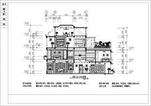 三层带露台花园别墅设计装修cad平立栅格v栅格cad剖面密度图片