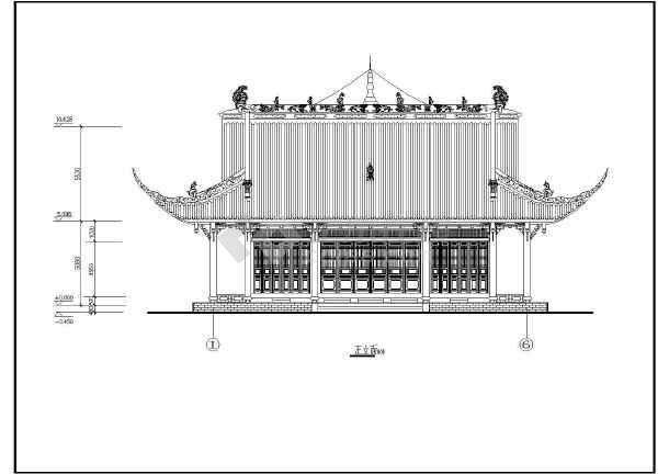 某小型庙宇建筑全套设计cad图纸图片