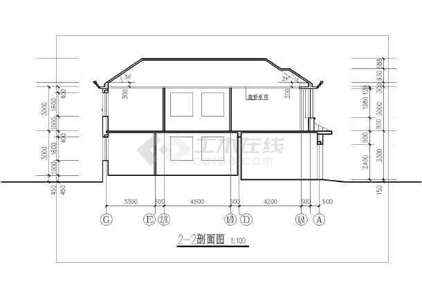 某地区别墅平立剖面cad设计图纸