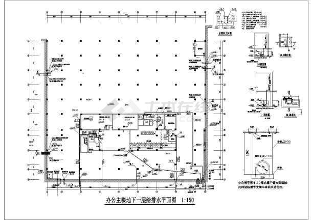 某十五层办公楼给排水设计施工图纸-图1