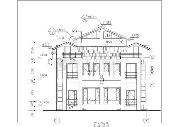 某地区欧式别墅平立剖面cad建筑设计图纸