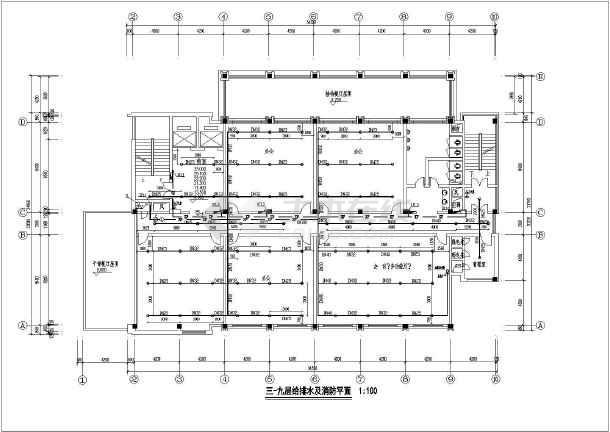 某办公楼室内水管道给排水消防布置设计图-图3