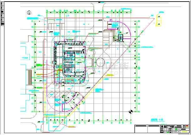 大厦高层空调水管给排水平面施工图-图1