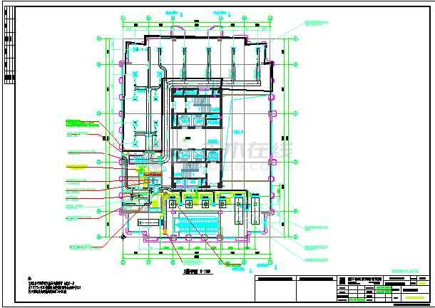 大厦高层空调水管给排水平面施工图-图3