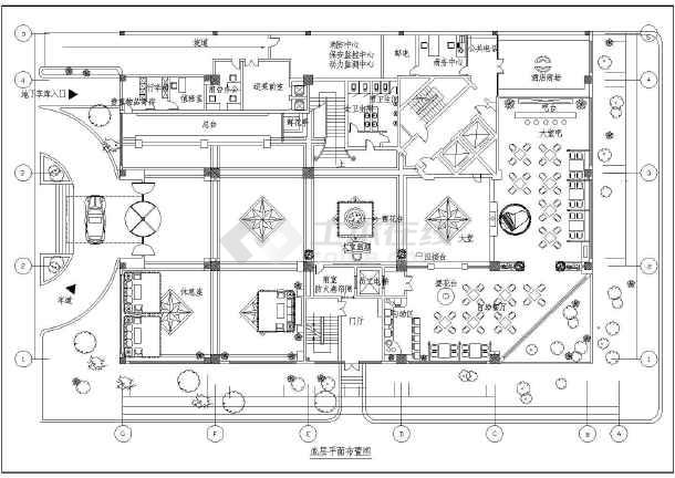 宾馆室内平面布置cad施工设计图纸