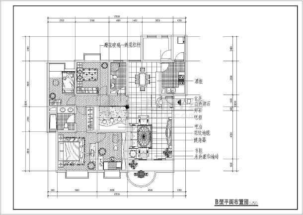 经典室内家装户型cad平面布置施工图