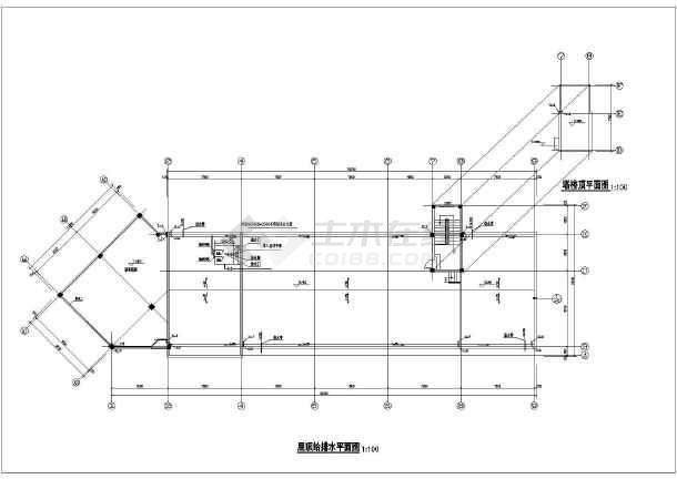 某市环卫所办公楼给排水cad施工图-图3