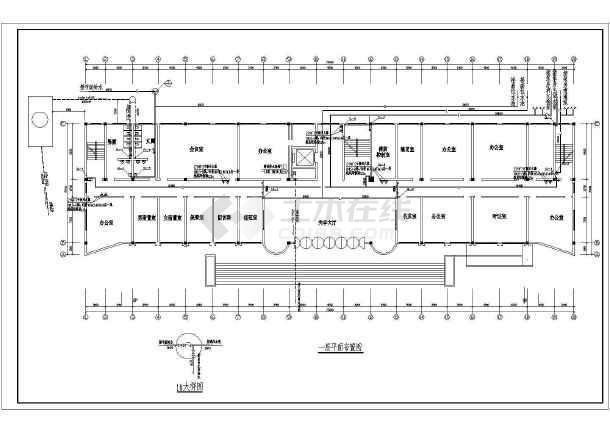 某办公楼给排水cad施工方案设计图纸-图1