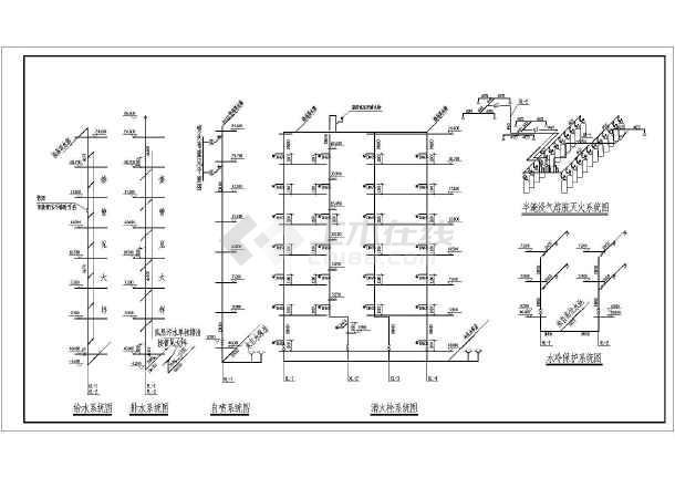 某办公楼给排水cad施工方案设计图纸-图3