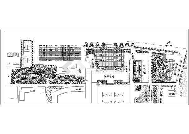 某校园广场绿化景观设计cad平面图