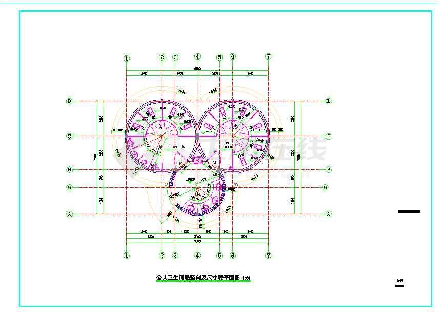 风景区圆形茅草屋顶公厕建筑设计施工图