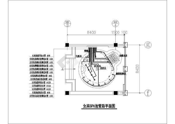 某会所中心桑拿、水疗水处理全套cad施工图纸-图3