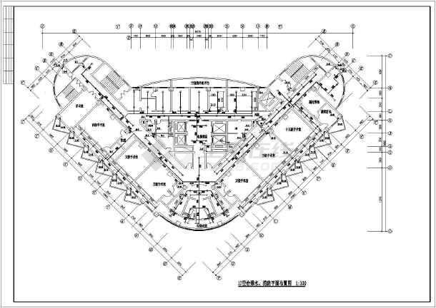 高层医院疗楼给排水建筑施工设计图-图1