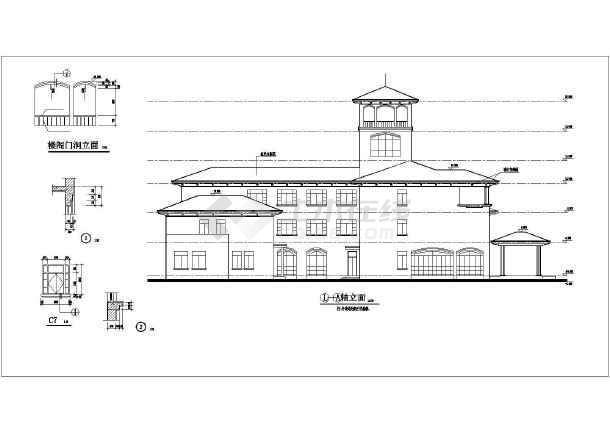 某三层欧式小型办公楼建筑施工图纸(cad图纸下载)