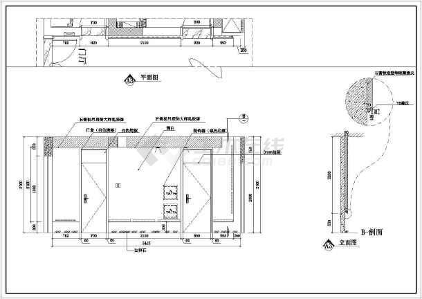 某完整室内装饰装修cad施工方案图-图3