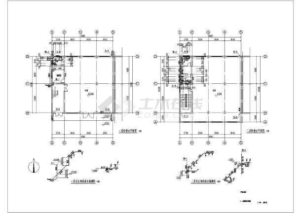 某三层厂房给排水cad施工设计图纸-图1