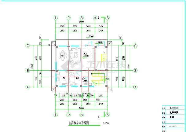 私人住宅给排水设计图-图1