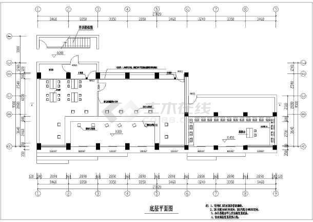 某燃气公司运营中心室内装饰装修cad施工图纸-图1