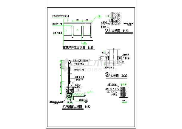 玻璃栏杆v玻璃图纸_cad详图下载cad线正交画图片