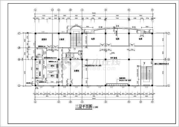 某学校食堂设计建筑施工图cad图纸