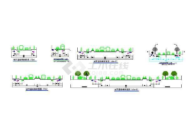 城市道路横断面制造(规划用)_cad专业下载杭职图纸设计与设计机械图片