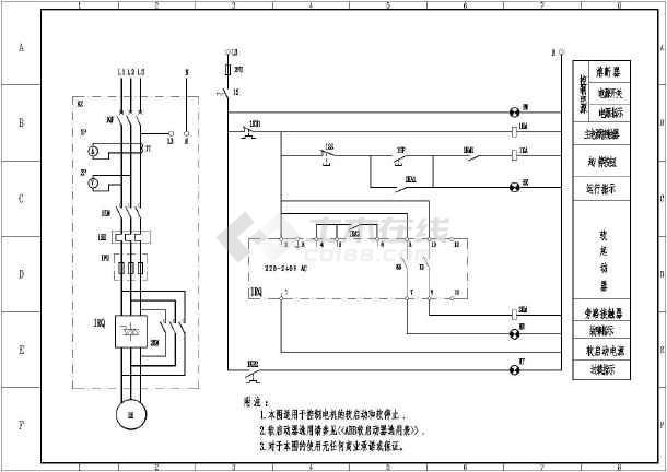 abb软启动接线,控制原理电气cad图
