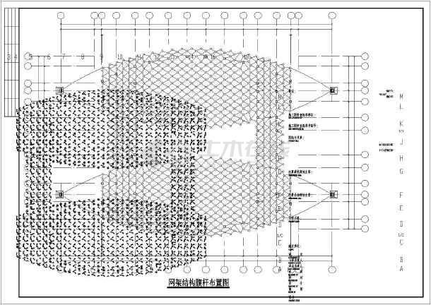 某地区全套异形网架建筑设计cad图