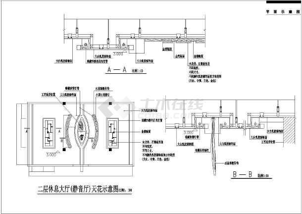 某地二层酒店局部空间装修设计规划施工图图片