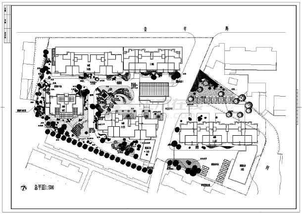 平面小区一角绿化设计cad总客户施工图室内设计环境情况表图片