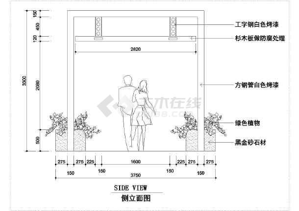 庭院景观小品cad设计平立面施工图