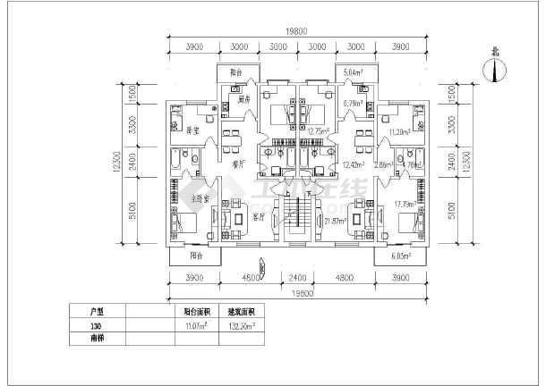 某多层居民小区住宅户型建筑设计图